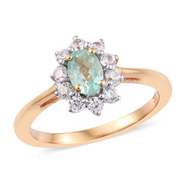 1 Carat Emerald and Cambodian Zircon Halo Ring in Gold Plated Sterling Silver