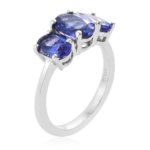 RHAPSODY 950 Platinum AAAA Tanzanite (Ovl) Three Stone Ring 3.25 Ct. Platinum wt 5.00 Gms.