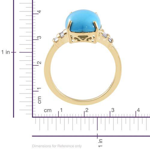 ILIANA 18K Yellow Gold AAA Arizona Sleeping Beauty Turquoise (Cush 6.00 Ct), Diamond (SI/G-H) Ring 6.150 Ct.