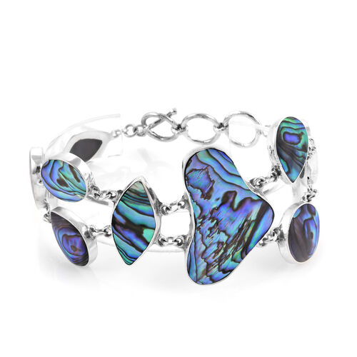 Royal Bali Collection- Abalone Shell Bracelet (Size 6.50 with 1 inch Extender) in Sterling Silver, Silver wt 16.00 Gms.