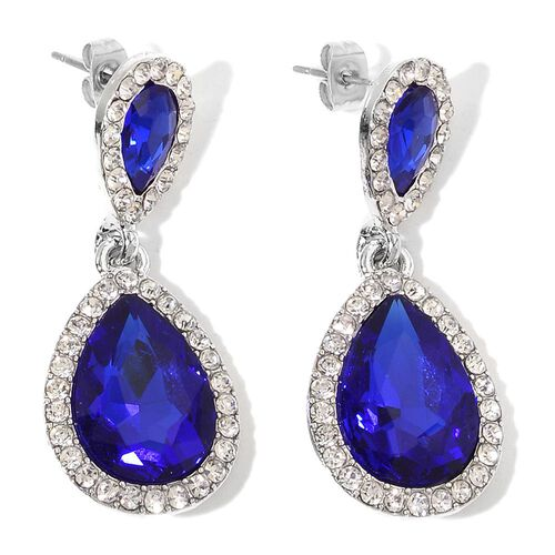 AAA Simulated Tanzanite and White Austrian Crystal Bracelet (Size 6.5) and Earrings (with Push Back) in Silver Tone