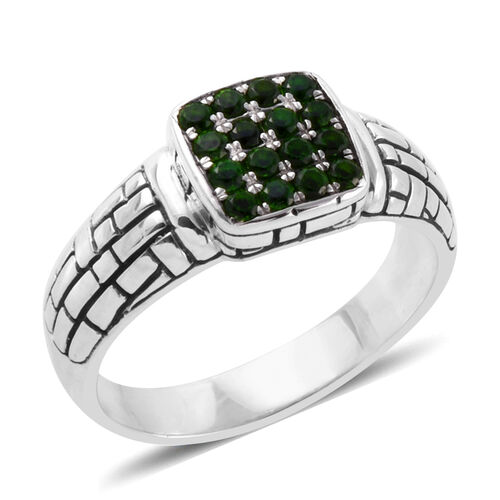 Bali Legacy Collection Russian Diopside Cluster Ring in Silver