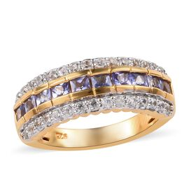 Tanzanite (0.90 Ct),Cambodian Zircon 14K Gold Overlay Sterling Silver Ring  1.500  Ct.