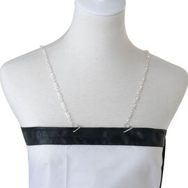 (Option 1) White Austrian Crystal Support Strap in Silvertone