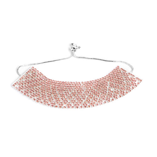 Pink Austrian Crystal (Rnd) Adjustable Bracelet (Size 6 to 11) in Silver Tone