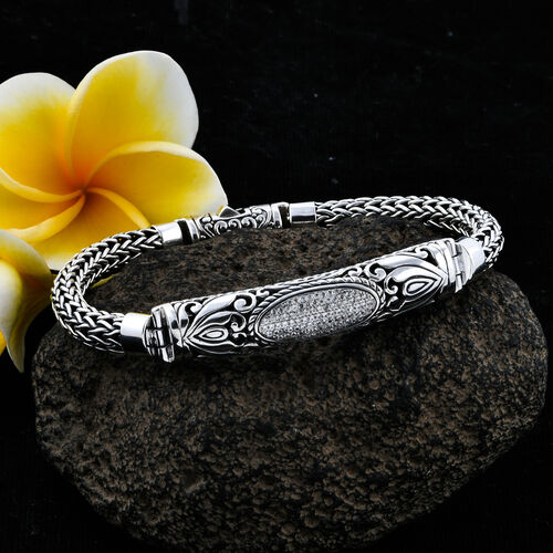Royal Bali Collection Natural Cambodian White Zircon (Rnd) Tulang Naga Bracelet (Size 7.5) in Sterling Silver Silver wt 37.48 Gms.