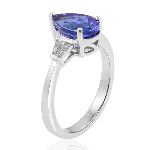 RHAPSODY 950 Platinum AAAA Tanzanite (Pear 3.40 Ct), Diamond (VS/E-F) Ring 3.650 Ct.