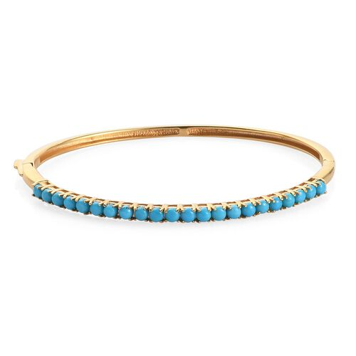 Arizona Sleeping Beauty Turquoise Full Bangle (size 7.75) in 14K Gold Overlay Sterling Silver 3.50 C