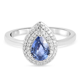 RHAPSODY 950 Platinum AAAA Ceylon Sapphire and Diamond (VS/D-F)  Ring 0.91 Ct