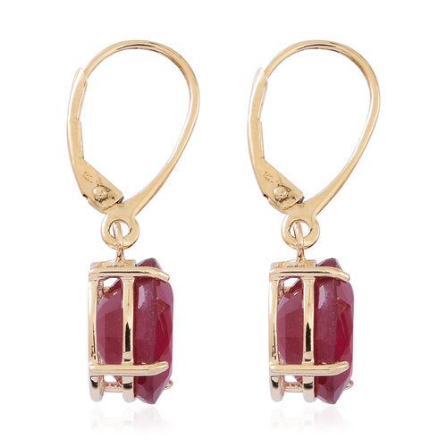 9K Y Gold AAA African Ruby (Ovl) Lever Back Earrings 10.000 Ct.