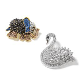 2 Piece Set - White Austrian Crystal (Rnd), Multi Colour Austrian Crystal, Black Austrian Crystal Swan and Elephant Brooch