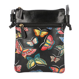 SUKRITI 100% Genuine Leather Traditional Hand Painted Butterfly Crossbody Bag (Size:15.75x19.81cm) w