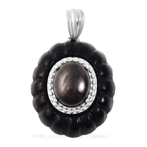 18.75 Ct Elite Shungite and Black Jade Circle Pendant in Rhodium Plated Sterling Silver