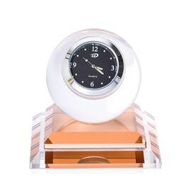 Light Brown Colour Crystal Table Clock (Size 7.5x8 Cm)