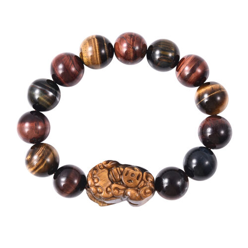 Yellow and Multi Colour Tiger Eye Stretchable Beads Bracelet (Size 7) 315.00 Ct.
