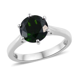 RHAPSODY 950 Platinum AAAA Russian Diopside (Rnd) Solitaire Ring 2.000 Ct