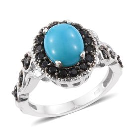 Arizona Sleeping Beauty Turquoise (Ovl 2.25 Ct), Boi Ploi Black Spinel Ring in Platinum Overlay Ster