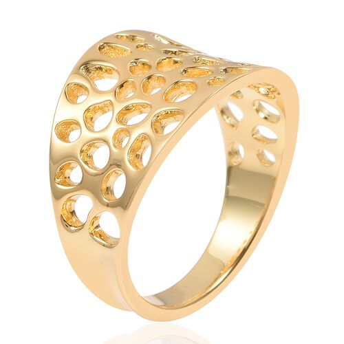 WEBEX- Rachel Galley Yellow Gold Plated Sterling Silver Lattice Ring, Silver wt 4.19 Gms.
