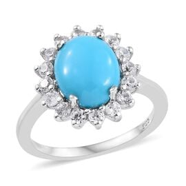 SLEEPING BEAUTY TURQUOISE (2.25 Ct),Cambodian Zircon Platinum Overlay Sterling Silver Ring  3.000  C