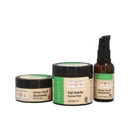 SHIZEN Combo of Fuji Matcha Green Tea Calming Gel For Skin De-tox & Green Tea (100 ml) & Hyaluronic