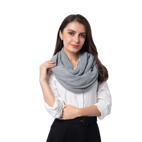 Designer Inspired-Grey Colour Infinity Scarf (Size 77x70 Cm)