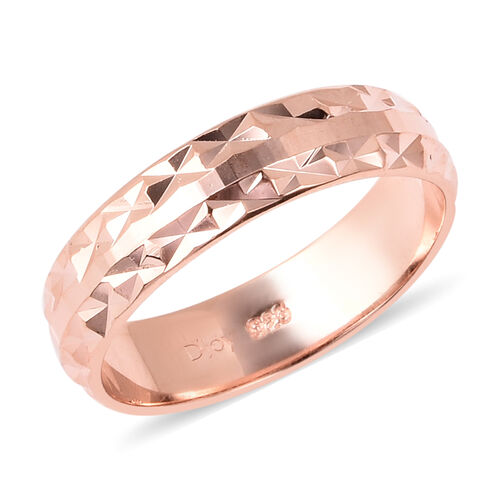 Diamond Cut Band Ring in Rose Gold Plated Sterling Silver