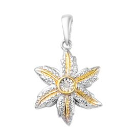 Diamond (Rnd) Floral Pendant in Platinum and Yellow Gold Overlay Sterling Silver
