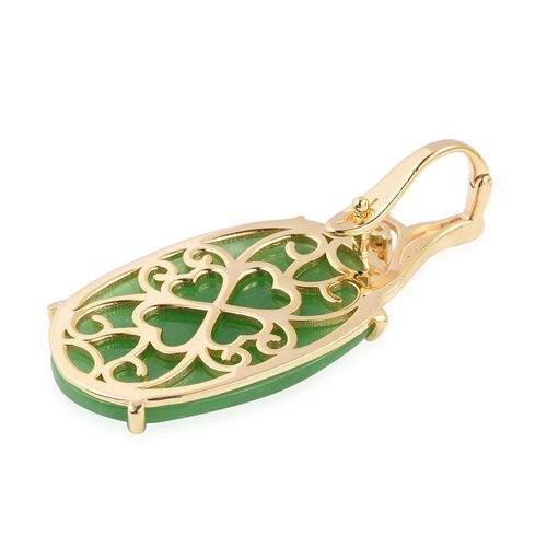 Extremely Rare Hand Carved Green Jade (Ovl 30x20mm), Rhodolite Garnet and White Zircon Pendant in 18K Yellow Vermeil Yellow Gold Overlay Sterling Silver 22.95 Ct.