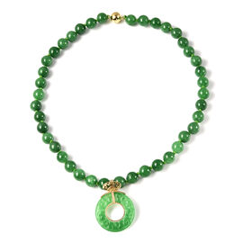 Carved Green Jade Beads Necklace (Size 18) with Magnetic Lock in Yellow Gold Overlay Sterling Silver