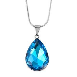 Simulated Aquamarine (Pear) Pendant with Chain (Size 20 with 2.5 inch Extender) in Silver Tone.