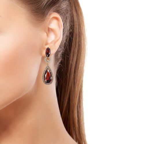 Simulated Ruby (Pear), White Austrian Crystal Drop Earrings in Stainless Steel
