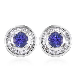 Limited Available-RHAPSODY 950 Platinum AAAA Tanzanite (Rnd), Diamond (VS/E-F) Stud Earrings (with Screw Back) 1.750 Ct.