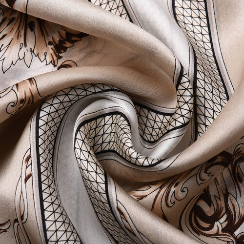 LA MAREY 100% Glossy Mulberry Silk Scroll Pattern Beige Scarf (175x52cm)