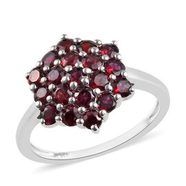 1.50 Ct Pyrope Garnet Cluster Ring in Platinum Plated Sterling Silver