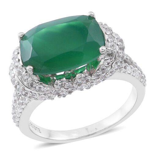 Verde Onyx (Cush 6.00 Ct), Natural White Cambodian Zircon Ring in Rhodium Plated Sterling Silver 8.7