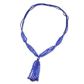 Simulated Blue Sapphire Beads Tassel Necklace Size 30