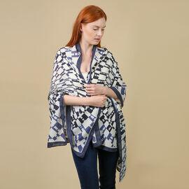 JOVIE 100% Viscose Printed Sarong (Size:80x180Cm) - Navy and White