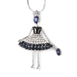 Simulated Blue Sapphire (Pear), Blue and White Austrian Crystal Ballerina Enamelled Necklace (Size 2