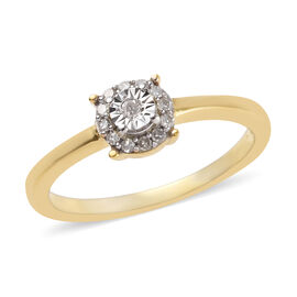 Diamond (Rnd) Ring in 14K Gold Overlay Sterling Silver 0.10 Ct.