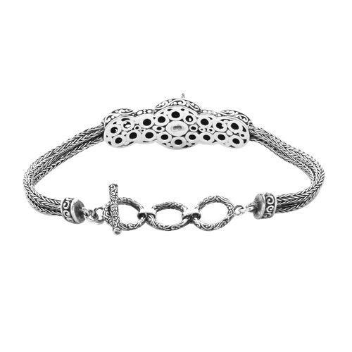 Royal Bali Collection - Sterling Silver Horse Tulang Naga Bracelet (Size 7.5 with Extender), Silver wt 20.10 Gms