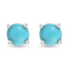 Arizona Sleeping Beauty Turquoise Stud Earrings (with Push Back) in Sterling Silver