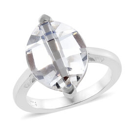 J Francis Crystal from Swarovski - White Colour Crystal (Mrq 14x11) Solitaire Ring in Sterling Silver