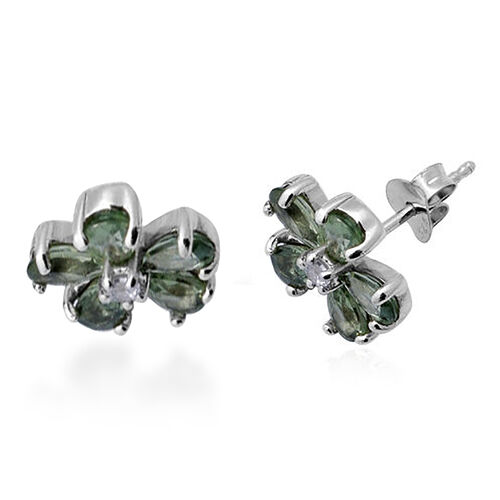 Green Sapphire and Natural Cambodian Zircon Floral Stud Earrings (with Push Back) in  Rhodium Overla