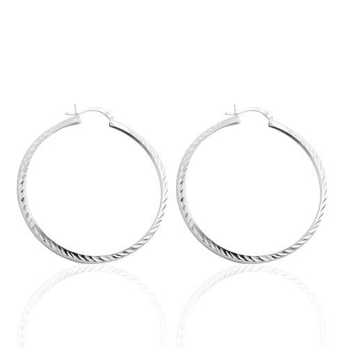 Sterling Silver Diamond Cut Hoop Earrings (with Clasp), Silver wt 3.00 Gms.