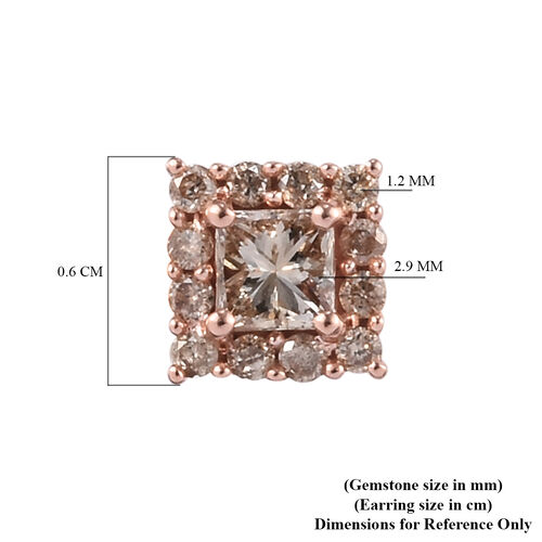 9K Rose Gold SGL Certified Natural Champagne Diamond (I3) (Princess Cut) Earrings (with Push Back) 0.50 Ct.