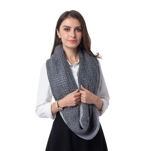 Grey Colour Pattern Reversible Infinity Scarf (Size 73x24 Cm)