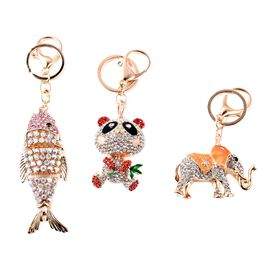 Set of 3 - Multicolour Austrian Crystal Fish, Panda and Elephant Enamelled Keychain in Gold Tone