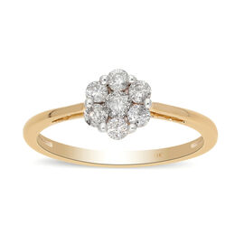 9K Yellow Gold SGL Certified White Diamond (I3/G-H) Pressure Set Floral Ring 0.50 Ct.
