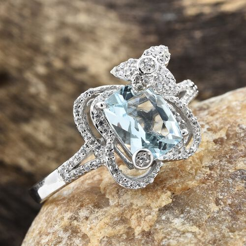 Designer Inspired- Rare Size Espirito Santo Aquamarine (Cush 9X7 ), Natural Cambodian Zircon Ring in Platinum Overlay Sterling Silver 2.249 Ct.