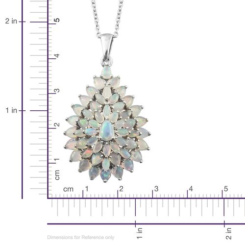 Ethiopian Welo Opal (Pear) Drop Cluster Pendant with Chain in Platinum Overlay Sterling Silver 4.000 Ct. Silver wt 6.29 Gms.